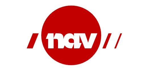 Logo NAV - napisa NAV w czerwonym kole