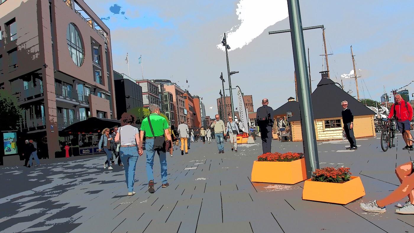 Komiksowo ujęty widok bulwarów w Olso: spacerujący ludzie, donice z kwiatami, budynki po lewej stronie i szeroka promenada